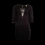 Black Lace Paneled Ponte Mini Dress