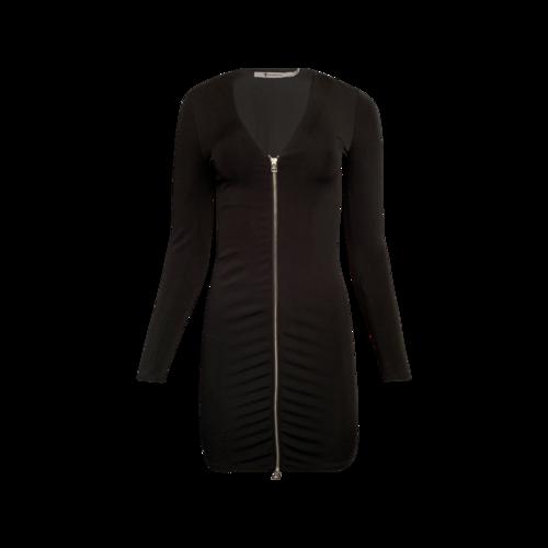 Alexander Wang Black Zip-Detailed Strech Jersey Mini Dress