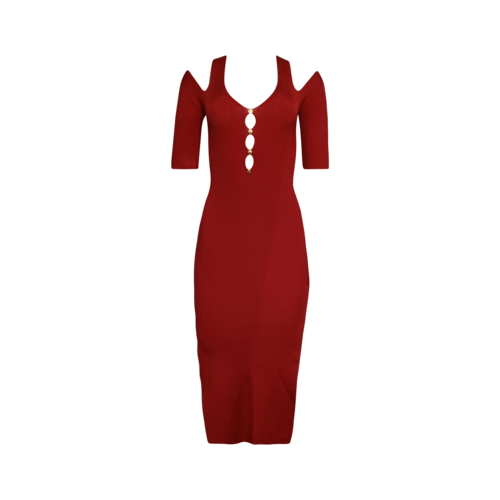 Versace Red Cut-Out Ribbed Dress