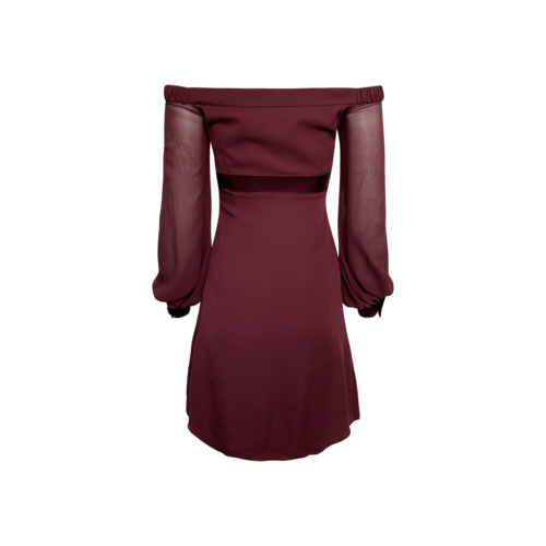 Purple Off-the-Shoulder Sheer Sleeves Dress