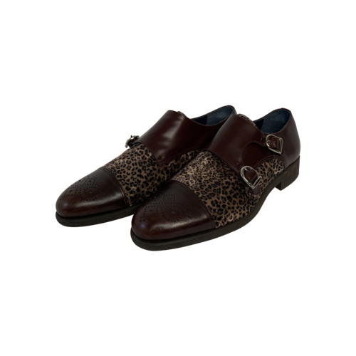Hive and Colony Custom Made Brown Leather and Leopard Print Shoes