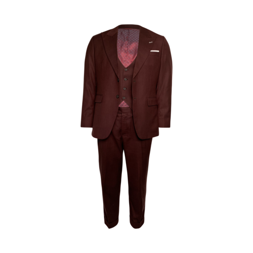 Custom Made Burgundy Three Piece Suit