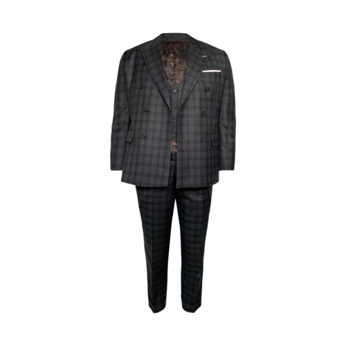 Custom Made Plaid Green Double Breasted Three-Piece Suit