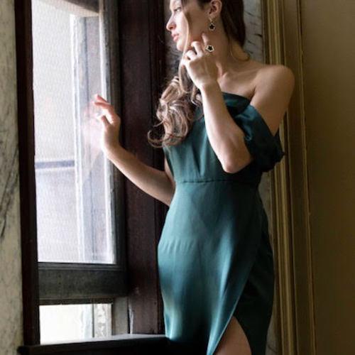 Green One-Shoulder Draped Silk Dress