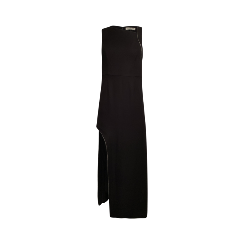 Halston Black Chain Embellished Crepe Gown