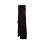 Black Chain Embellished Crepe Gown