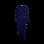 "Blue ""Whistler"" Asymmetric Striped Ribbed Dress"