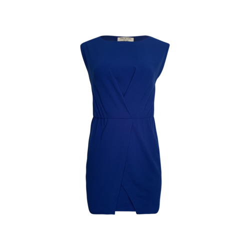 Halston Cobalt Blue Front Slit Sheath Dress