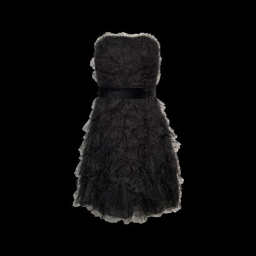 Tadashi Shoji Black Tulle Fan Pleated Strapless Dress