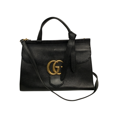 Gucci Black GG Marmont Top Handle Satchel Bag
