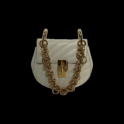 "Chloé White ""Drew Bijou"" Mini Quilted Leather Shoulder Bag"