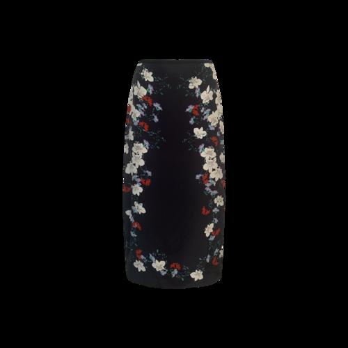 """Erdem Midnight Blue """"Maira"""" Floral Print Silk Satin Midi Skirt"""