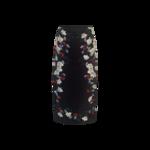 "Midnight Blue ""Maira"" Floral Print Silk Satin Midi Skirt"