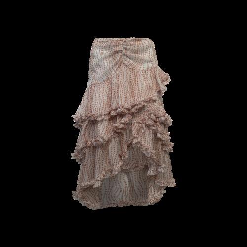 Cinq à Sept Pink Floral Ruffle Tiered Skirt