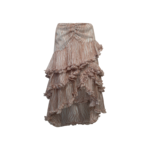 Pink Floral Ruffle Tiered Skirt