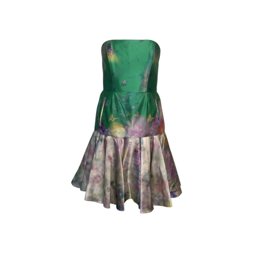 Erdem Butterfly Print Silk Strapless Dress