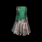 Butterfly Print Silk Strapless Dress