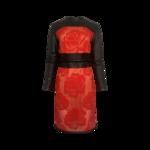 Crimson Leather and Brocade Dress