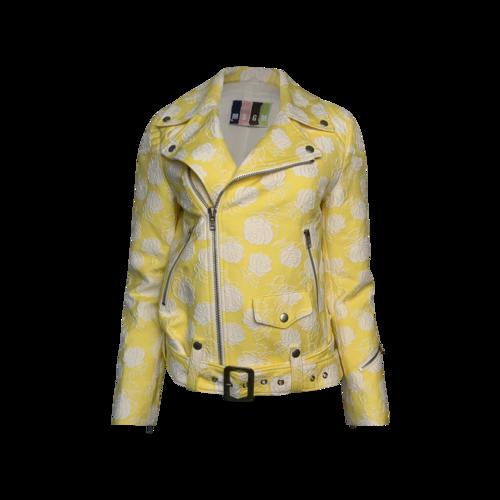 MSGM Yellow Cotton Blend Jacquard Biker Jacket