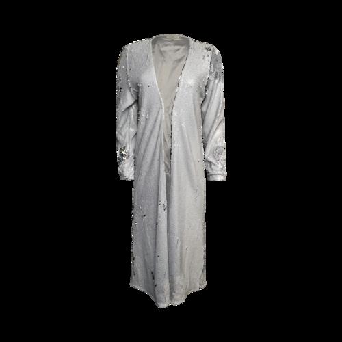 Blanka Boutique White Flip Sequins Duster