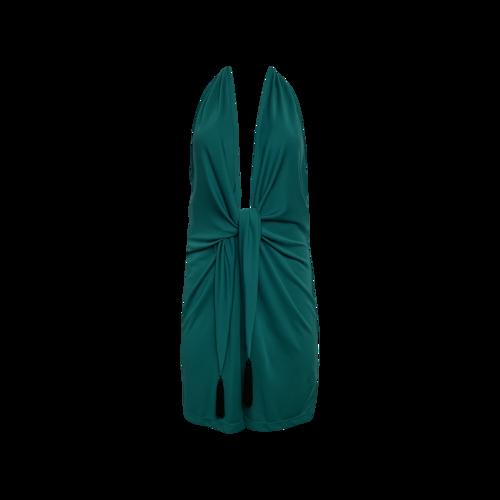 "BCBGMAXAZRIA Ultra Green ""Lella"" Plunging Neckline Dress"