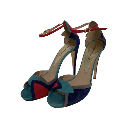 Emporio Armani Multi-Color Suede Ankle Strap Heels
