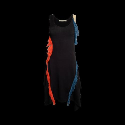 Cédric Charlier Black Crochet Multi-Color Fringe Dress