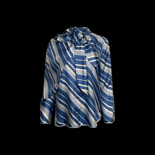 JW Anderson Blue Silk Diagonal Stripe Neck-Tie Blouse