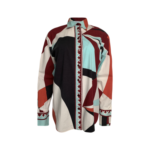 Emilio Pucci Multi Geometric Pattern Cotton Button-Up Shirt