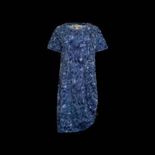 Michael Kors Blue Printed Dress w/ Side Ruched Toggle