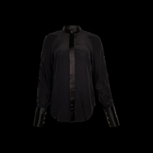 Maison Margiela Black Collarless Slim Fit Silk Button-Up Shirt