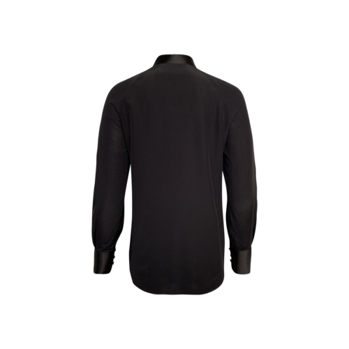 Black Collarless Slim Fit Silk Button-Up Shirt
