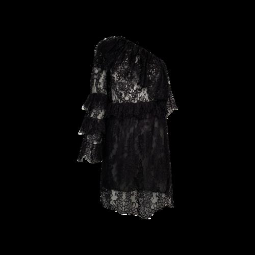 Dundas Black Ruffled One-Shoulder Lace Mini Dress