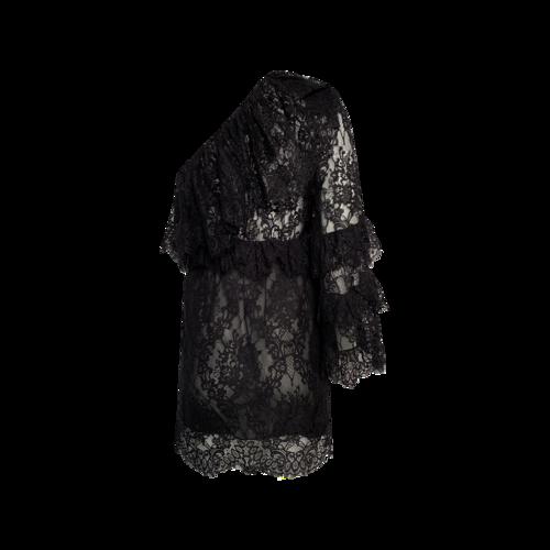 Black Ruffled One-Shoulder Lace Mini Dress
