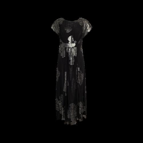 Nicole Miller Black Foil Floral Gown