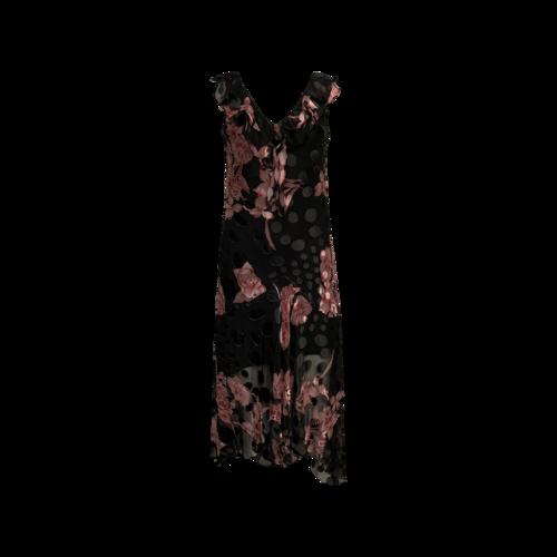 Sue Wong Pink Floral and Polka Dot Embellished Dress