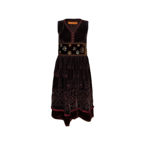 Cynthia Steffe Brown Velvet Embroidered and Embellished Dress