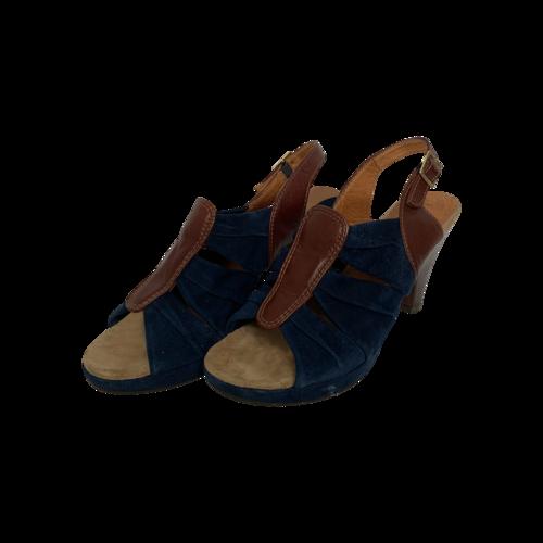 Chie Mihara Blue Suede Sandals w/ Wooden Heel