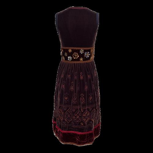 Brown Velvet Embroidered and Embellished Dress