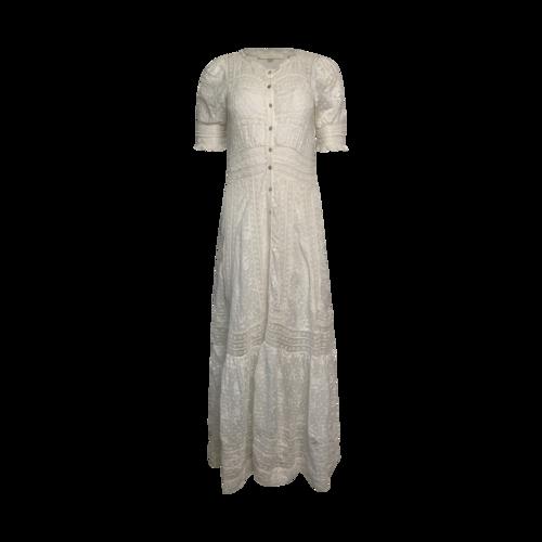 "Love Shack Fancy White ""Minka"" Emboidered Cotton Maxi Dress"