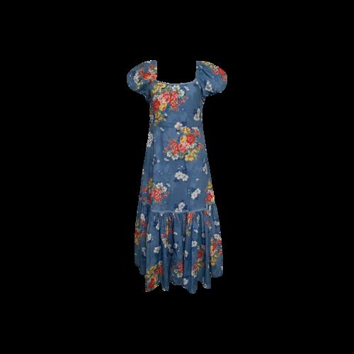 """Love Shack Fancy Blue """"Salma"""" Floral Print Midi Dress"""