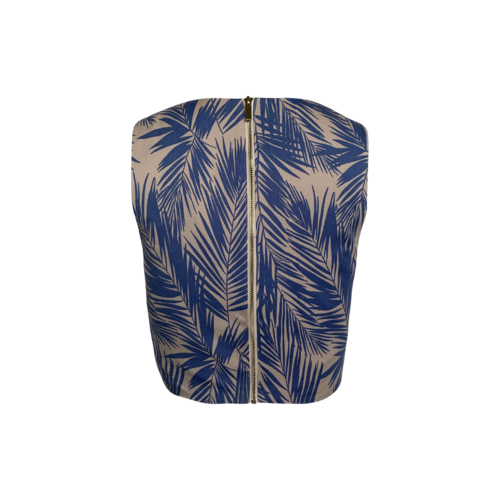 Light Blue Palm Print Crop Top
