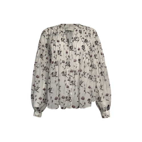 7 For All Mankind White Floral Pin tuck V-Neck Top