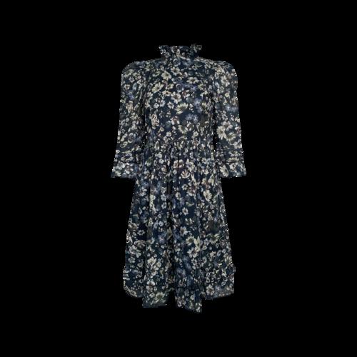 EShakti Custom Ruffle Floral Print Cotton Voile Dress