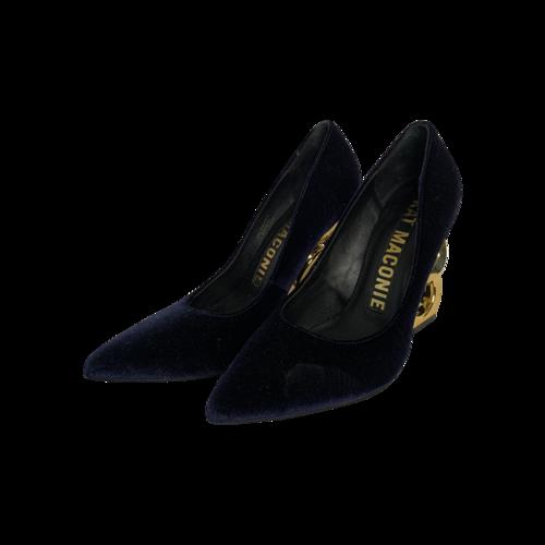 Kat Maconie Blue Velvet Pumps w/ Gold Double Chain Heels