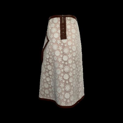 Floral Applique Faux Wrap Skirt