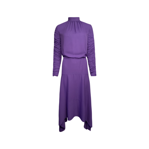 Elenareva Purple Ruched Sleeves Dress