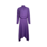 Purple Ruched Sleeves Dress