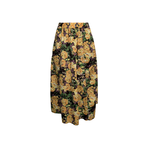 Gestuz Yellow Floral Midi Skirt