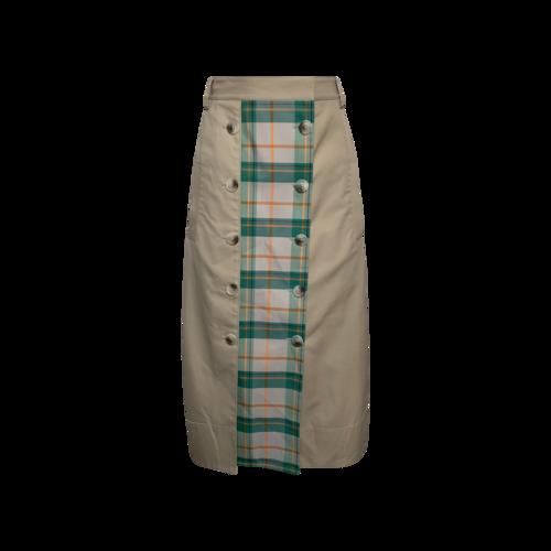 "Tibi Green ""Hani"" Tartan Plaid Panel Button Front Trench Skirt"